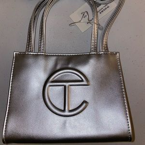 Small Silver metallic Telfar bag
